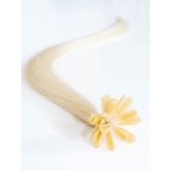Vlasy evropského typu k prodlužování keratinem 40cm - platinové
