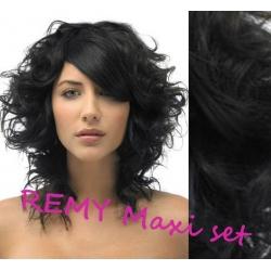 Kudrnatý clip in maxi set 53cm pravé lidské vlasy – REMY 200g - ČERNÁ