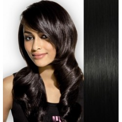 "Clip in hair extensions 20"" (53cm) 100% human hair – REMY 100g – black"