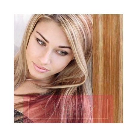 """Clip in hair extensions 20"""" (53cm) 100% human hair – REMY 100g – mixed blonde"""