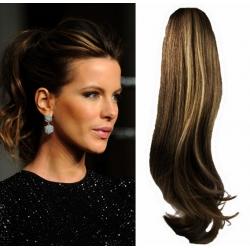 Clip in wrap ponytail 100% human hair extension 24 inch wavy – dark brown / blonde