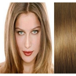 "Clip in hair extensions 16"" (43cm) 100% human hair – REMY 70g – light brown"