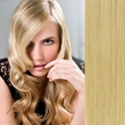 "Clip in hair extensions 16"" (43cm) 100% human hair – REMY 70g – natural blonde"