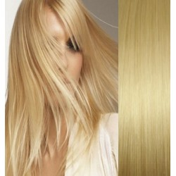 """Clip in hair extensions 16"""" (43cm) 100% human hair – REMY 70g – light blonde"""