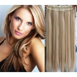 Clip in pás z pravých vlasů 43cm rovný – platina / světle hnědá