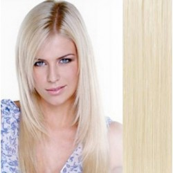 "Clip in hair extensions 16"" (43cm) 100% human hair – REMY 70g – platinum blonde"