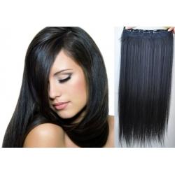 Clip in pás z pravých vlasů 53cm rovný – černá