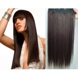 Clip in pás z pravých vlasů 53cm rovný – tmavě hnědá