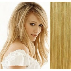 "Clip in hair extensions 16"" (43cm) 100% human hair – REMY 70g – light / natural blonde"