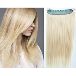 """20"""" one piece clip in hair weft extensions straight – platinum blonde"""