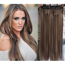 "20"" one piece clip in hair weft extensions straight – dark brown / blonde"