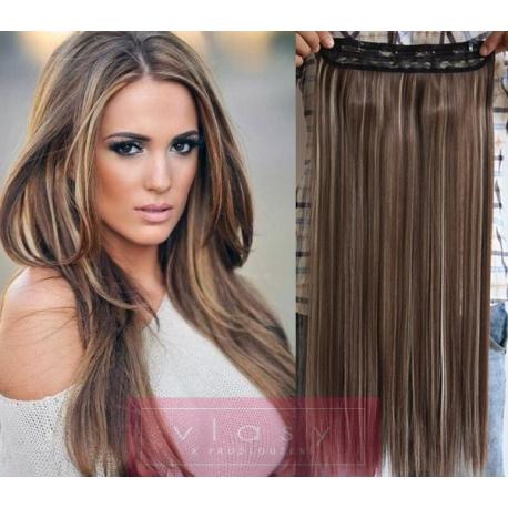 Clip in pás z pravých vlasů 53cm rovný – tmavý melír