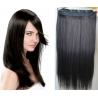 Clip in pás z pravých vlasů 63cm rovný – přírodní černá