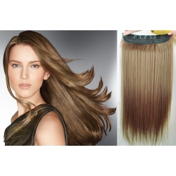 "24"" one piece clip in hair weft extensions straight – light brown"