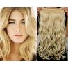 Clip in pás z pravých vlasů 43cm vlnitý – nejsvětlejší blond