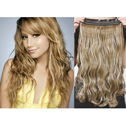 """16"""" one piece clip in hair weft extensions wavy – mixed blonde"""