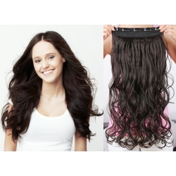 """20"""" one piece clip in hair weft extensions wavy – natural black"""