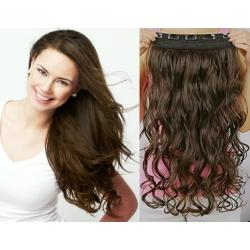 "20"" one piece clip in hair weft extensions wavy – dark brown"