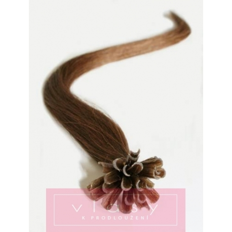 "U-tip / Nail tip human hair REMY 24"" (60cm) – medium light brown"