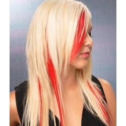"Clip in 100% human hair streak 20"" (53cm) – red"