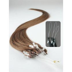 "Micro ring / easy ring human hair REMY 16"" (40cm) – medium light brown"