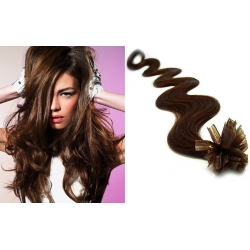 "Wavy U-tip / Nail tip human hair REMY 20"" (50cm) – dark brown"