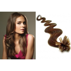 "Wavy U-tip / Nail tip human hair REMY 20"" (50cm) – medium light brown"