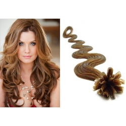 "Wavy U-tip / Nail tip human hair REMY 20"" (50cm) – light brown"