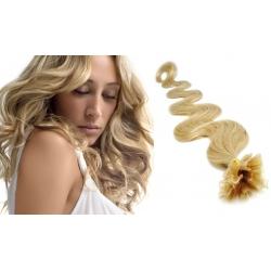 "Wavy U-tip / Nail tip human hair REMY 20"" (50cm) – natural blonde"