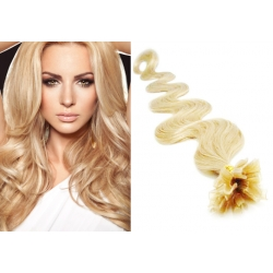 "Wavy U-tip / Nail tip human hair REMY 20"" (50cm) – the lightest blonde"