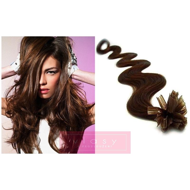 Vlnité vlasy evropského typu k prodlužování keratinem 60cm - tmavě hnědé b310adf9255