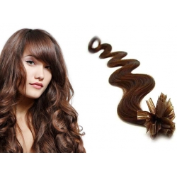 "Wavy U-tip / Nail tip human hair REMY 24"" (60cm) – medium brown"