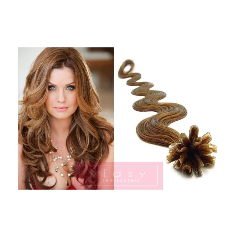 Vlnité vlasy evropského typu k prodlužování keratinem 60cm - světle hnědé aaee8df9682
