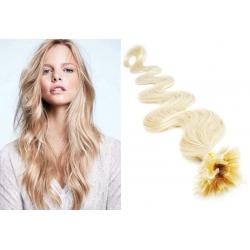 "Wavy U-tip / Nail tip human hair REMY 24"" (60cm) – platinum blonde"