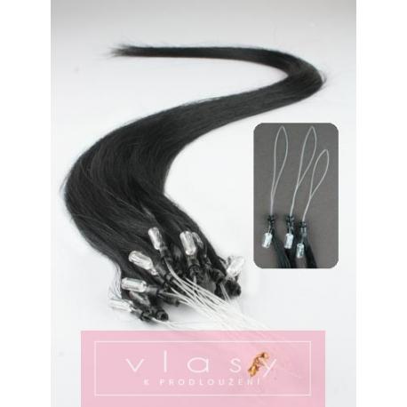 "Micro ring / easy ring human hair REMY 20"" (50cm) – black"