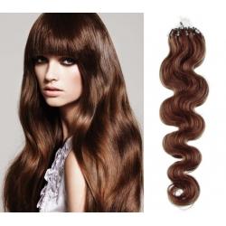 Vlnité vlasy Micro Ring / Easy Loop / Easy Ring / Micro Loop 50cm – světlejší hnědé