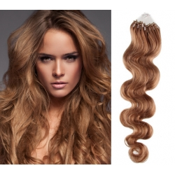 "Wavy micro ring / easy ring human hair REMY 20"" (50cm) – light brown"