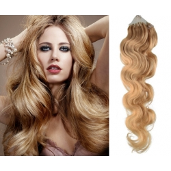 "Wavy micro ring / easy ring human hair REMY 20"" (50cm) – natural blonde"