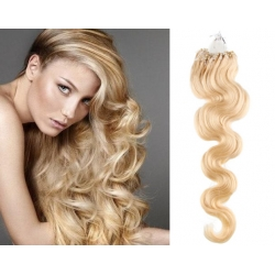 "Wavy micro ring / easy ring human hair REMY 20"" (50cm) – the lightest blonde"
