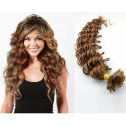 "Curly U-tip / Nail tip human hair REMY 20"" (50cm) – light brown"