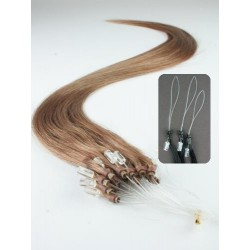 "Micro ring / easy ring human hair REMY 20"" (50cm) – light brown"
