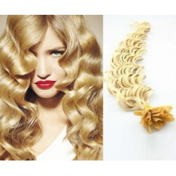 Kudrnaté vlasy evropského typu k prodlužování keratinem 50cm - nejsvětlejší blond