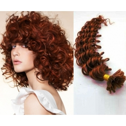 """Curly U-tip / Nail tip human hair REMY 20"""" (50cm) – copper red"""