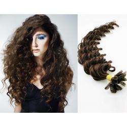 Kudrnaté vlasy evropského typu k prodlužování keratinem 60cm - tmavě hnědá