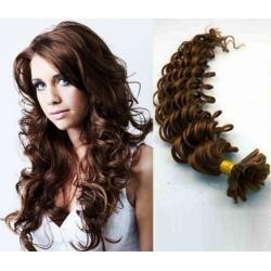 Kudrnaté vlasy evropského typu k prodlužování keratinem 60cm - středně hnědé b64b399d7c2