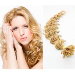 "Curly U-tip / Nail tip human hair REMY 24"" (60cm) – natural blonde"