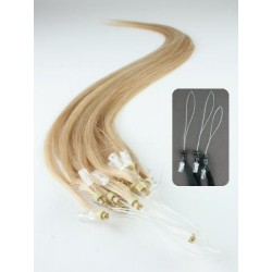 "Micro ring / easy ring human hair REMY 20"" (50cm) – natural blonde"