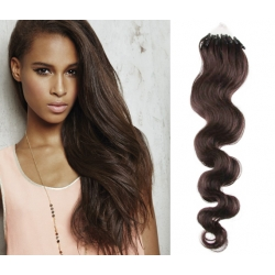 "Wavy micro ring / easy ring human hair REMY 24"" (60cm) – dark brown"