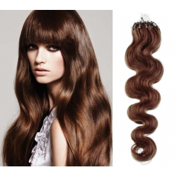 Vlnité vlasy Micro Ring / Easy Loop / Easy Ring / Micro Loop 60cm – světlejší hnědé