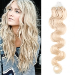 "Wavy micro ring / easy ring human hair REMY 24"" (60cm) – platinum blonde"